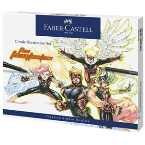 SET COMIC ILLUSTRATION FABER CASTELL CON 6 MATITE COLORATE GOLDFABER, 3 PENNE NERE PITT ARTIST ED ACCESSORI